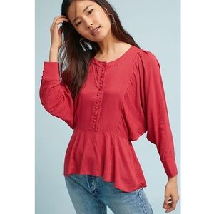 Anthropologie Maeve Red And White Polkadot Top